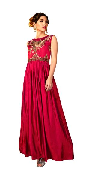 Designer Ready to Wear Maroon Slub Satin Silk Embroidered Long Gown Dress Size 42 A421