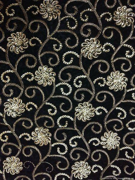 Designer Black Velvet Sequin Kasab Embroidered Fabric for Blouse Crop top Pre Cut 1.0 Meter (102 Cms)