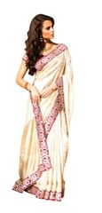 Cream Jacquard Crepe Saree SC31516