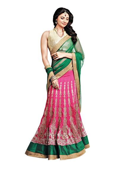Pink Cream Georgette Three Piece Lehenga Choli Dupatta Fabric Only SC2360