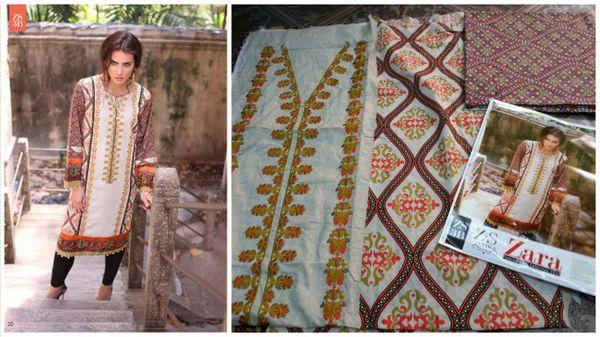 Designer Pakistani Mahi Zara Unstitched Kurti Kurta Embroidered Fabric Only ZS3B