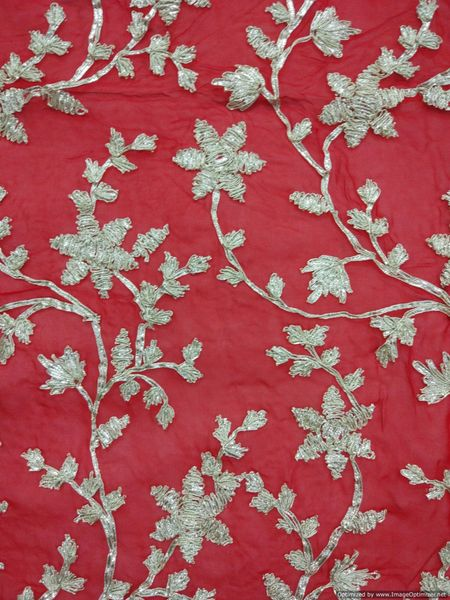 Designer Georgette Red Gotta Embroidered Fabric for Blouse Crop top Pre Cut 1.3 Meter (132 Cms)