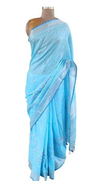 Silver Border Linen Cotton Embroidered Saree (Blue_BLS03)