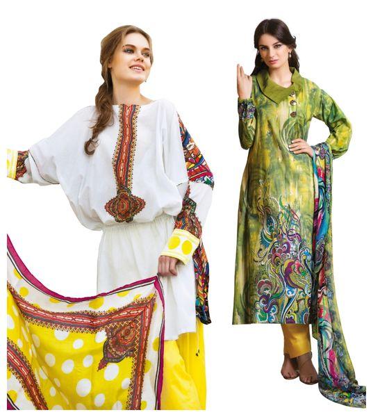 Designer Crepe Printed Dress Material Combo Set of Two