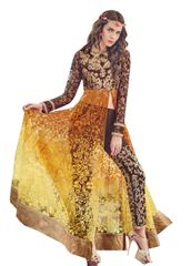Designer Yellow and Brown Brasso Long semi stitch Anarkali Partywear Dress material SC4011