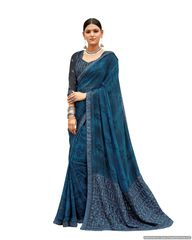 Designer Blue Georgette Printed Embroidered Saree