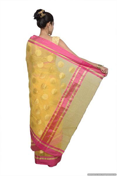 Designer Yellow Kota Cotton Polka Dot Saree KCS84