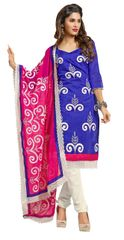 Blue Chanderi Straight Cut Suit