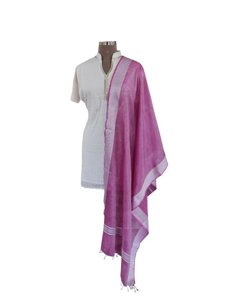 Handloom Tissue Linen Solid Purple Dupatta BLD08