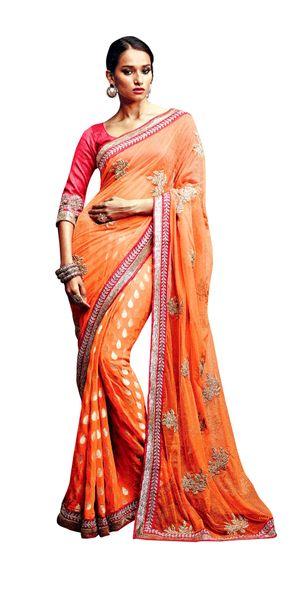 Designer Orange Net Viscose Butti Saree SC33520