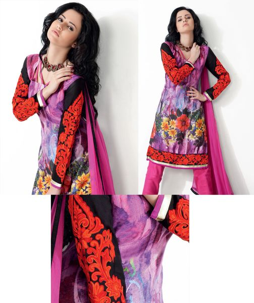 Purplish Pink Winter Pashmina Embroidered Dress Material