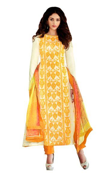 Aditi Rao Cotton Jequard Cream Yellow Embroidered Dress Material SC9055