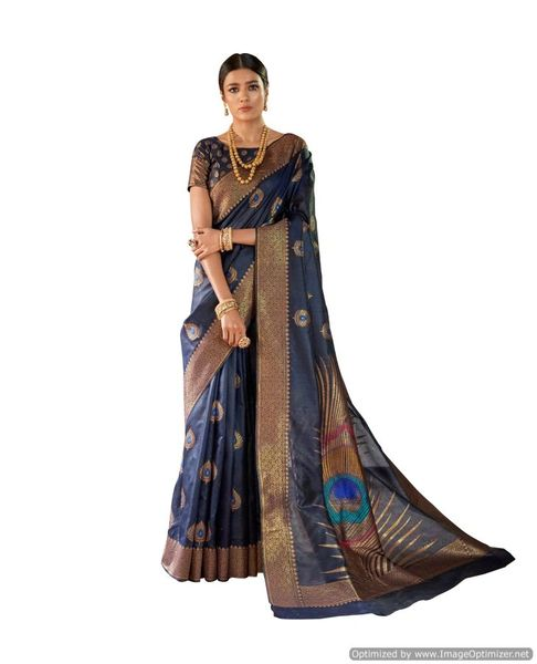 Soft Silk Handloom Weaven Saree (Blue_KS07)