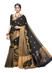 Black Cotton Silk Zari Border Saree (Black-Arya)