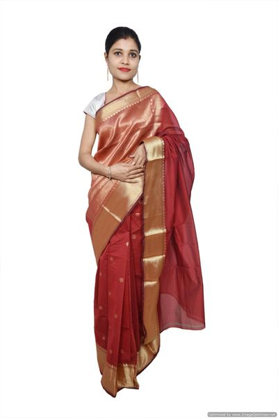 Maroon Banarsi Cotton Silk Saree with Running Blouse Fabric BS19