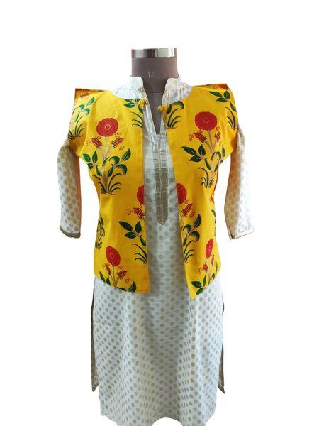 Yellow Cotton Block Printed Ethnic Jacket