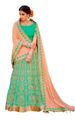 Green Peach Pure Silk Lehenga Choli Dupatta L503
