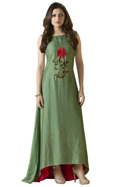 Designer Green Vicose Kurti Kurta Dress Size XL SCLT908
