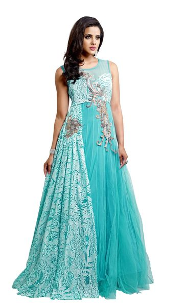 Designer Semi Stitched Western Dress Sky Blue Net Long Gown SC1044