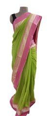 Exclusive Festival Temple Border Green Khadi Cotton Saree Khadi4