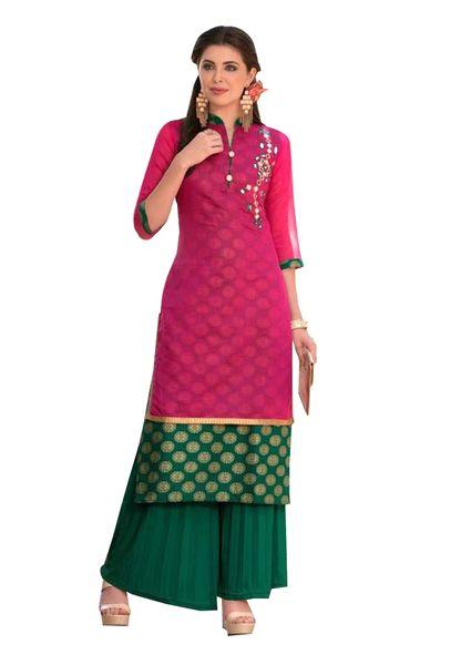 Designer Pink Rayon Cotton Kora Silk Layered Embroidered Long Kurta Dress Size XL SCKSD213