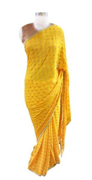 Yellow Khaddi Jequard Georgette Saree with Brocade Blouse Fabric ACC98