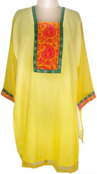 Yellow Chiffon Semi Stitched Kurta (Plus Size_2XL)