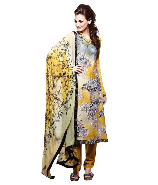 Cotton Yellow Salwar Kameez Churidar Fabric SC8130C