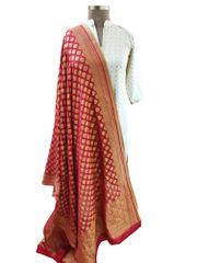 Designer Pink Banarsi Georgette Weaven Dupatta