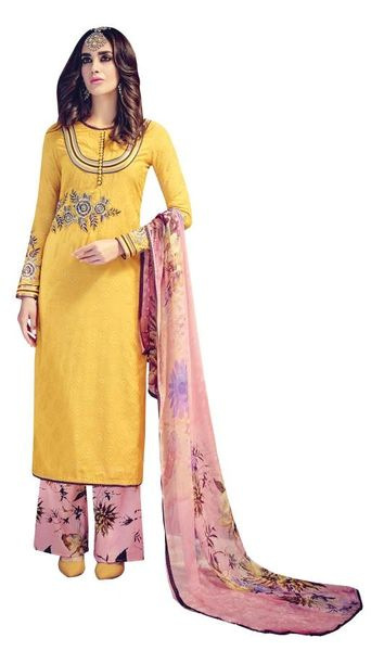 Designer Yellow Embroidered Pashmina Winter Dress Material with Chiffon Dupatta