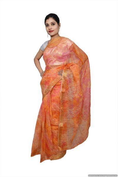 Designer Orange Zari Weaven Kota Shibori Saree