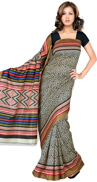 Designer Black Printed Cotton Silk Saree SC4541A