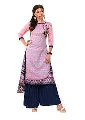 Designer Pink Rayon Cotton Kora Silk Layered Embroidered Long Kurta Dress Size XL SCKSD208