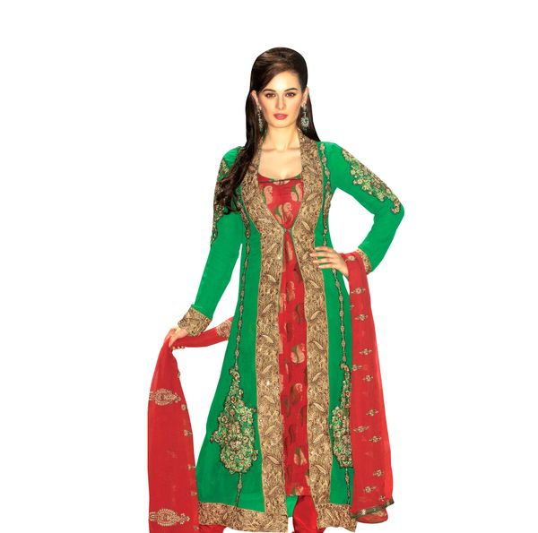 Red Green Embroidered Princess Cut Anarkali Dress Material