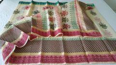 Designer Beige Block Printed Kota Cotton Saree KSC106