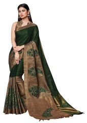 Soft Cotton Silk Embroidered Saree (Green_Asena)