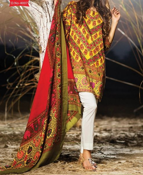 Designer Pakistani Printed Glazed Cotton Brown Pant Style Dress material F4007