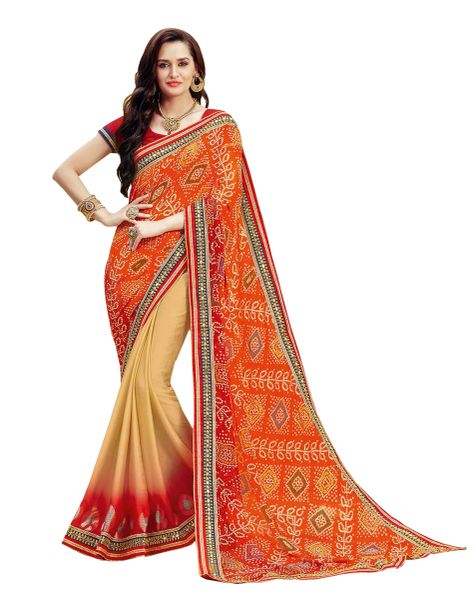 Designer Red Bandhej Print Embellished Georgette Saree K3213