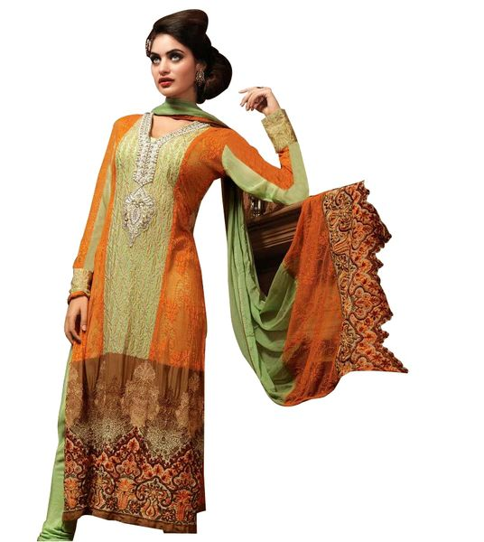 Green Orange Pure Georgette with net Jequard Embroidered Salwar kameez Churidar Dress Material SC6124
