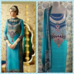 Designer Digital Printed Satin Kurta with Chiffon Dupatta Fabric Only Heer5703