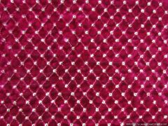Designer Pink Velvet Sequin Embroidered Fabric for Blouse, Crop Top , Kurti Pre Cut 1.5 Meters (160 Cms)