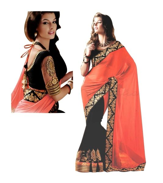 Designer Orange Black Georgette Embroidered Saree SC4010