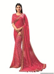 Designer Georgette Pink Bandhini Bandhej Saree