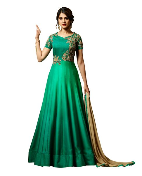 Designer Green Semi Stitched Satin Silk Dress Material
