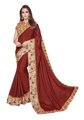 Designer Two Tone Brown Silk Border Saree with Blouse and Jacket