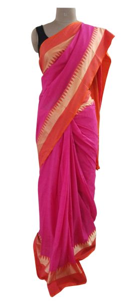 Exclusive Festival Temple Border Magenta Khadi Cotton Saree Khadi6