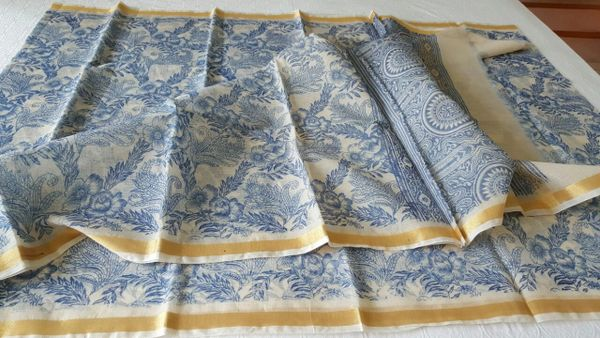 Designer Off White Block Printed Kota Cotton Saree KSC108