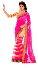 Neon Pink Georgette Saree SC6009A