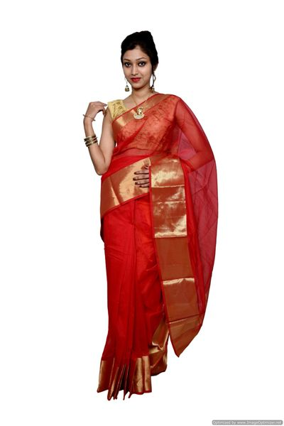 Red Kota Cotton Zari Border Saree with Running Blouse KCS61