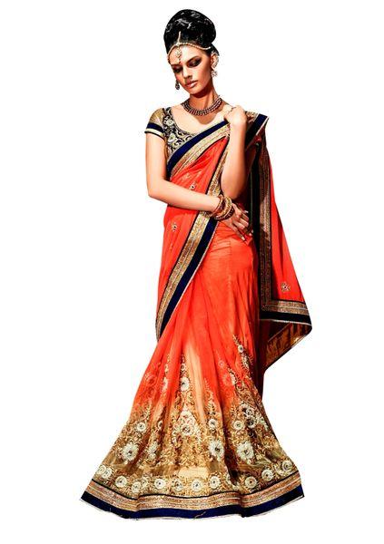 Designer Net Georgette Orange Embroidered Saree SC109B